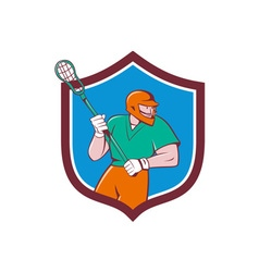 Lacrosse player crosse stick running shield vector