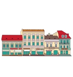 Color abstract old buildings city isolate on white vector