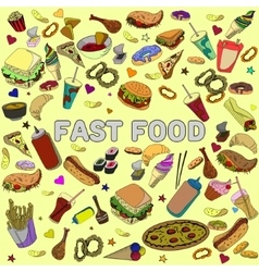 Fast food design line art vector