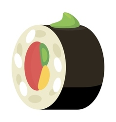 Sushi roll icon cartoon style vector