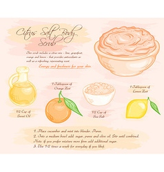 Hand drawn of energy citrus salt body scrub recipe vector