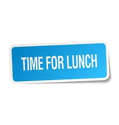 Time for lunch blue square sticker isolated on vector