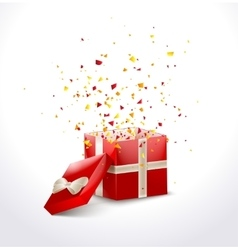 Opened red gift box with ribbon and flying vector