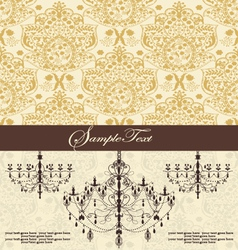 vintage damask invitation card with chandelier vector image