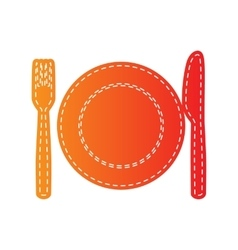 Fork tape and knife sign orange applique vector