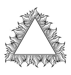 Black white triangle frame with spurts of flame vector