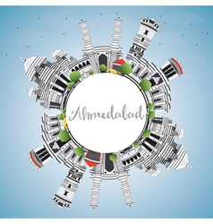 Ahmedabad Skyline with Gray Buildings vector image vector image