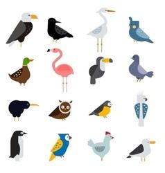 Birds set egle parrot vector