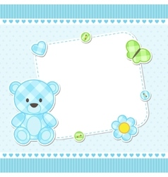 Blue teddy bear card vector