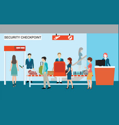 Business people in airport terminal security check vector