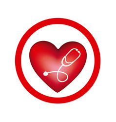 Circular frame with heart and stethoscope inside vector
