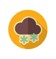 Cloud with snow retro flat icon weather vector