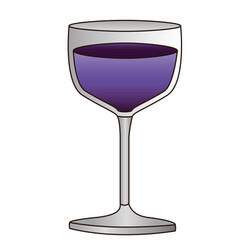 Colorful silhouette of glass cup with purple wine vector