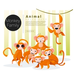 Cute animal family background with monkeys vector