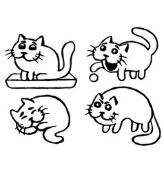 Cute cats emoticons set isolated vector