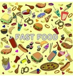 Fast food design line art vector