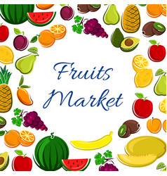 fruits icons in round shape for market banner vector image vector image
