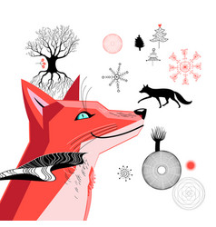 graphic beautiful portrait of a red fox vector image