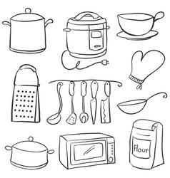 Hand draw of kitchen equipment doodles vector