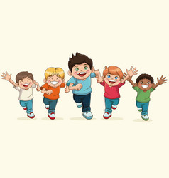 happy children day cartoon group boy smiling vector image vector image