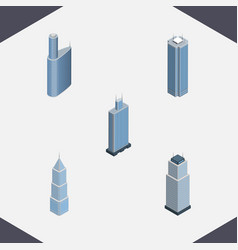 Isometric building set of skyscraper exterior vector