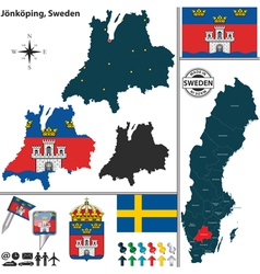 Map of Jonkoping small vector image
