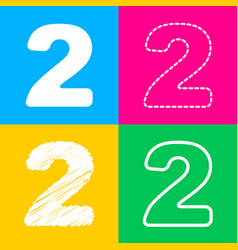Number 2 sign design template elements four vector