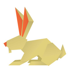 origami rabbit icon cartoon style vector image