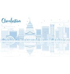 Outline charleston skyline with blue buildings vector