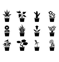 Pot plants icons set vector
