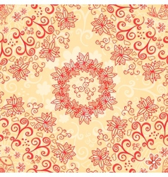 Red and cream floral seamless pattern vector image vector image