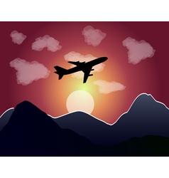 Setting of the sun flying plane vector