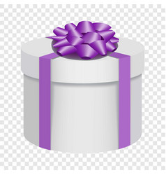 White gift box with a purple bow icon flat style vector