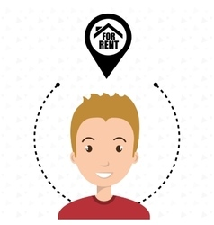 Man house pin rent vector