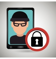Man smartphone thief secure vector