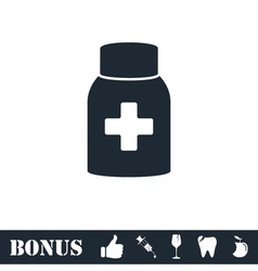 Medicine pill bottle icon flat vector