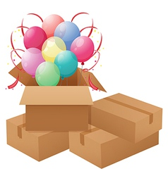 Balloons inside the box vector