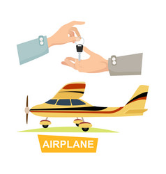 Hand passing key process of buying airplane vector