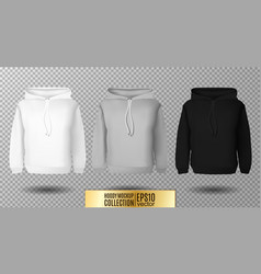 Hoody set realistic mockup long sleeve hoody vector