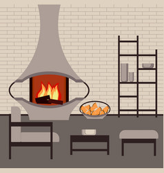 Modern fireplace in the interior living room vector