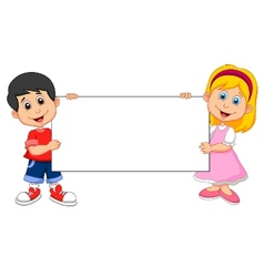 Cartoon boy and girl holding blank sign vector