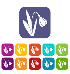 Bell flower icons set vector