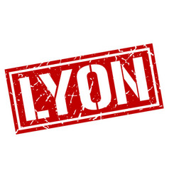 Lyon red square stamp vector