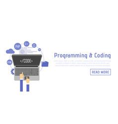 Programmer at computer desk working on program vector