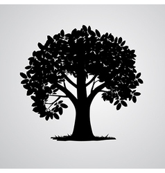 Black tree isolated on white background vector