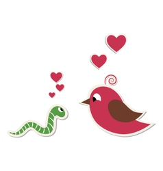 Cute loving worm and bird isolated on white vector