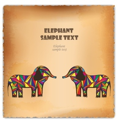 Colorful hand-drawn elephant on parchment vector