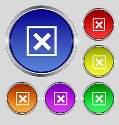Cancel icon sign round symbol on bright colourful vector