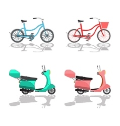 Isolated scooter motorbike and bicycle vector