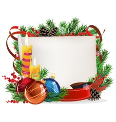 Christmas wreath with baubles and candles vector image